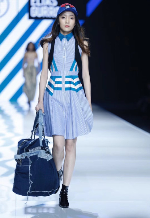 Stripped button up dress, and oversized denim bag