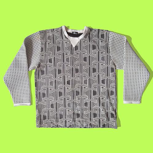 Geo sweater with mesh neoprene sleeves