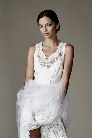 Lace front white dress