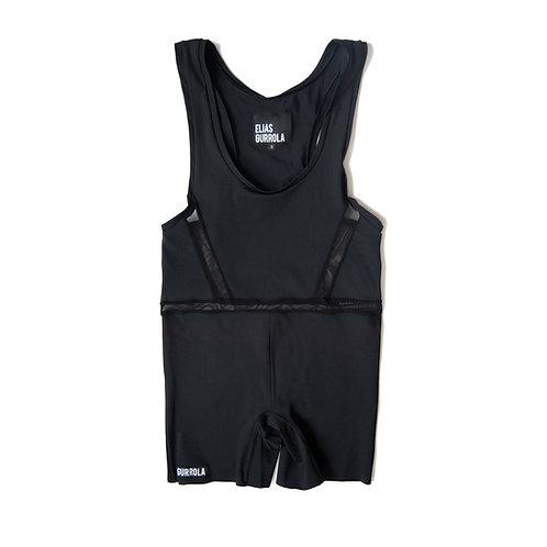 Matte black biker suit w/ mesh cut outs