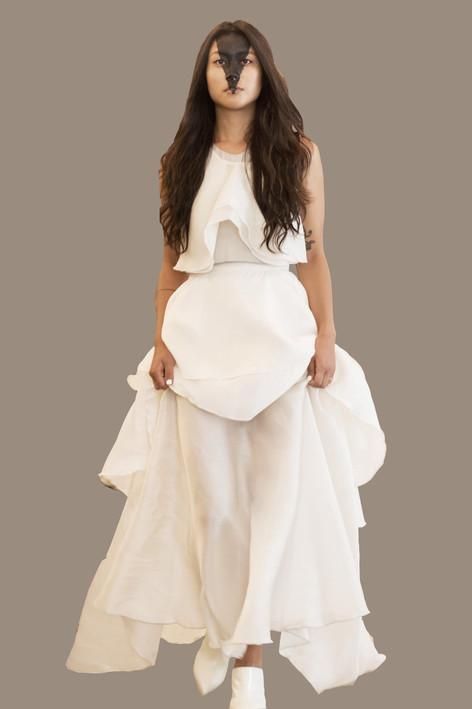 Organza draped top, and three tiered skirt