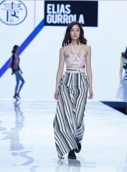 Stripped bandeau top and stripped canvas skirt