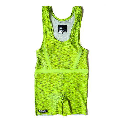 Neon heather biker suit w/ mesh cut outs