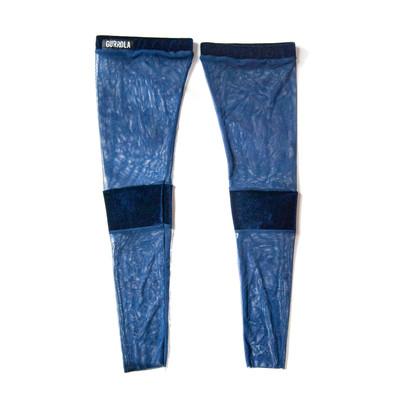 Midnight velour and mesh thigh high socks