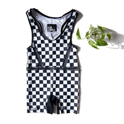 Racing check biker suit w/ mesh cut outs