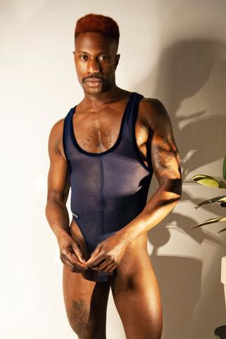 Midnight high cut mesh thong bodysuit