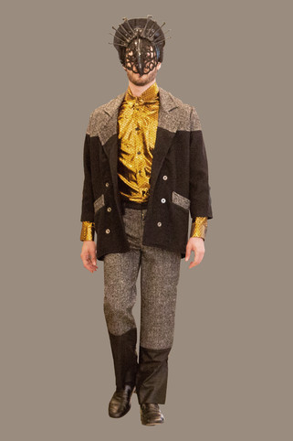 Color blocked overcoat, and trouser over gold lame button up
