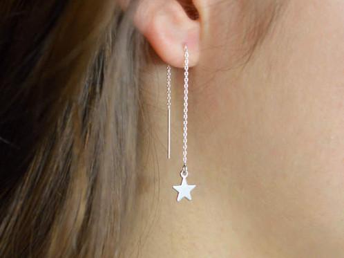Star Threaders Earrings Handmade Dainty