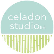 The Celadon Studio Logo is circular.  Top half is celadon with the business name and the bottom half is white bamboo on a chartreuse background.  Linked to the main landing page.