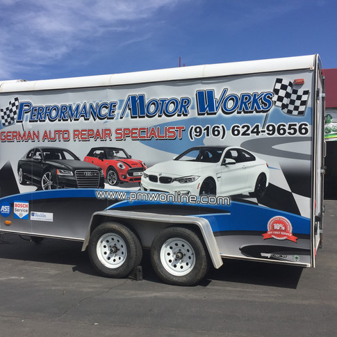Trailer Wrap for Performance Motor  Works