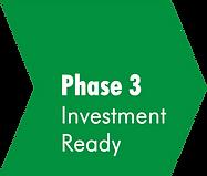 Grüner Pfeil mit der Aufschrift Phase 3 Investment Ready. Verlinkung zu: www.creative-energy-accelerator.de/phase-3-investment-ready
