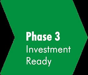 Grüner Pfeil mit der Aufschrift Phase 3 Investment Ready.