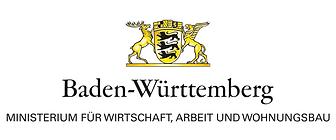 Logo Ministerium für Wirtschaft, Arbeit und Wohnungsbau Baden-Württemberg. Verlinkung zu www.wm.baden-wuerttemberg.de