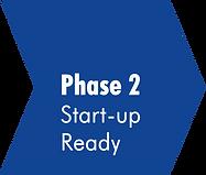 Blauer Pfeil mit der Aufschrift Phase 2 Start-up Ready. Verlinkung zu www.creative-energy-accelerator.de/phase-2-start-up-ready