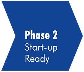 Blauer Pfeil mit der Aufschrift Phase 2 Start-up Ready.