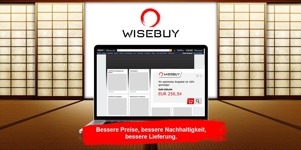 Browser-Ansicht eines Preisvergleichsportals. Im Hintergrund das Logo von Wisebuy. Im Vordergrund ein Slogan:Bessere Preise, bessere Nachhaltigkeit, bessere Lieferung.