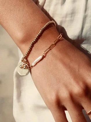 A LA - chain bracelet pearl bar