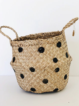 Seagrams basket - small black dots