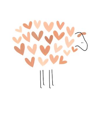 KLEIN LIEFS (NL) - Postcard Roze schaapje