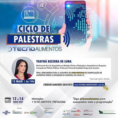 card THAINÁ PALESTRAS TECNO VIRTUAL 2021