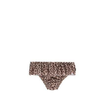 HOUSE OF JAMIE - Fringed bikini bottom leopard