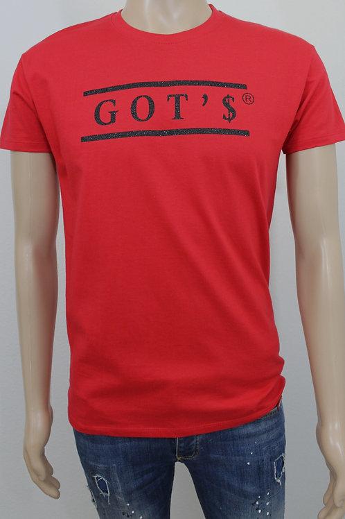 T-shirt rood, opdruk zwart