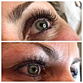 Eyelash lift with microblading brow art