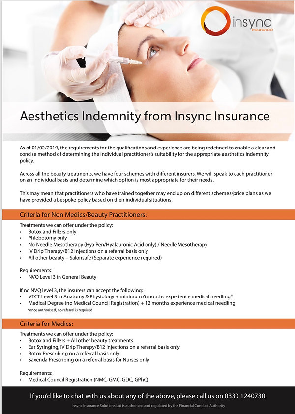 Aesthetic Training with Skiinpo Accreditation and Insurance Information