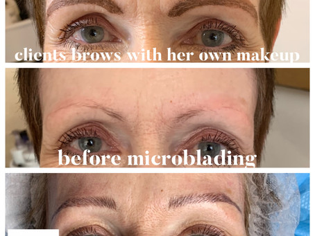 What a difference a day makes when your brows are bladed