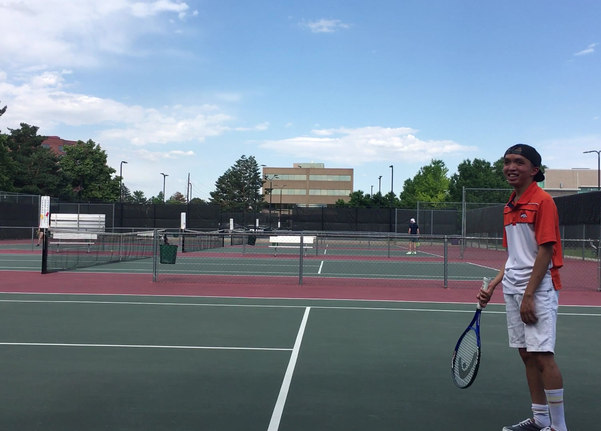 Hitting balls at Gates Tennis Center