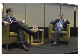 Jonathan Dutton interviews a CEO at the PASA  CPO EXCHANGE at Royal Pines, Gold Coast 2014