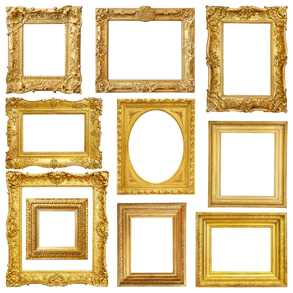 Set of golden vintage frame isolated on