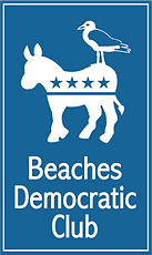 Democrat donkey symbole with seagull, Beaches Democratic club logo