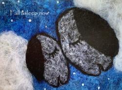 fall asleep sheep  -wool ink paint