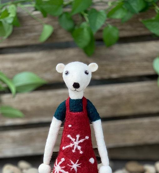 Needle Felted Lanky Baby Polar Bear - Jonathan
