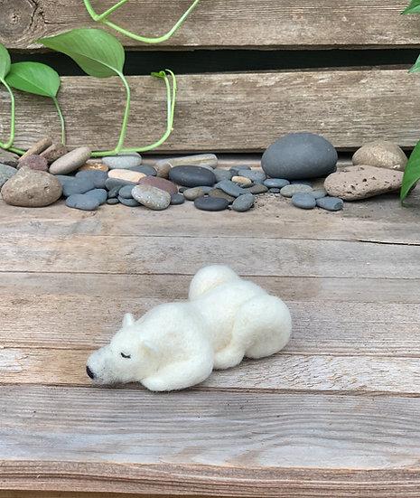 Needle felted sleeping Polar Bear - Aurora