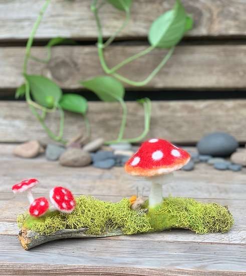 Needle Felted Amanita Mushroom with Snail