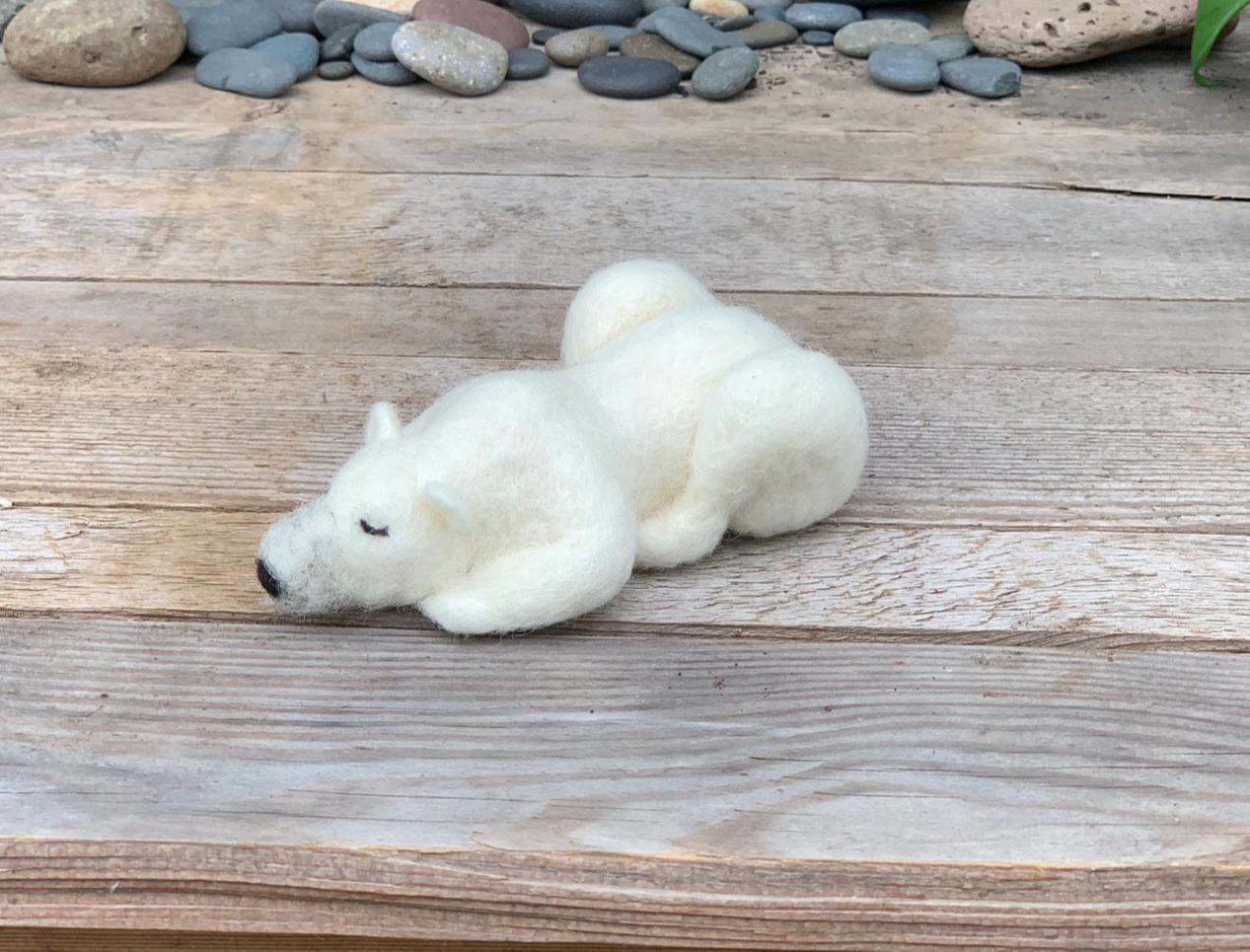 polar bear - wool ink paint