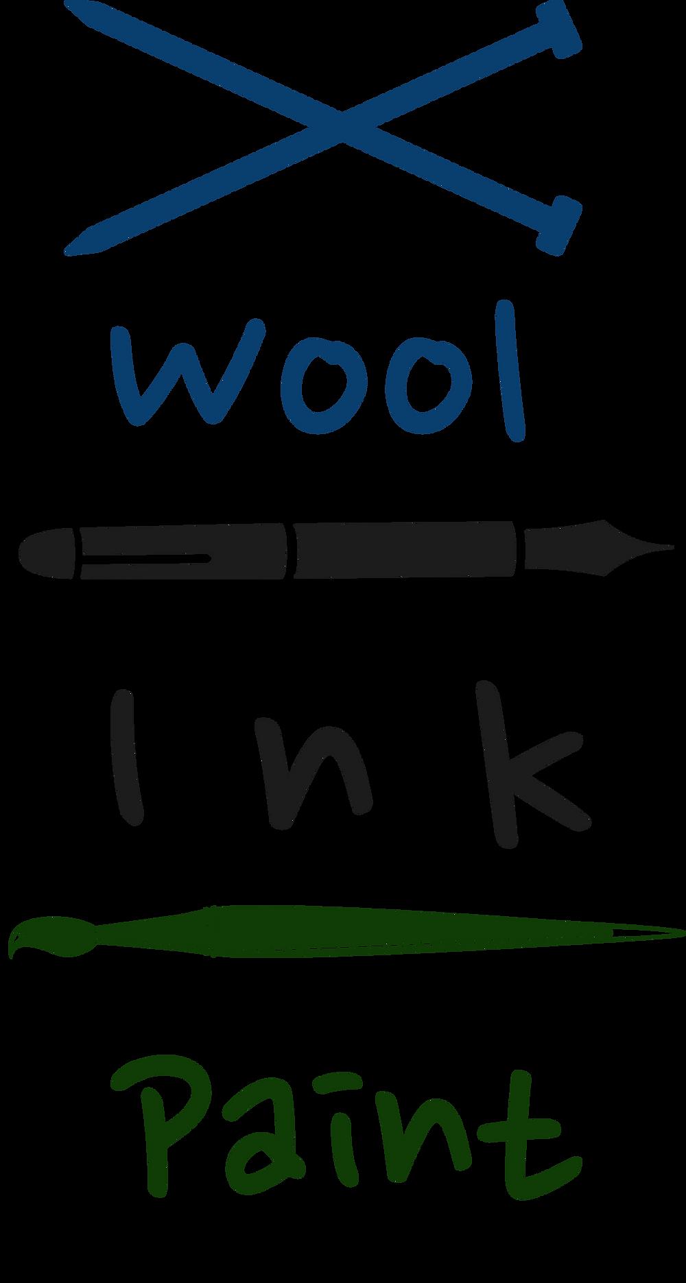 Wool Ink Paint logo - knitting needles, pen, paint brush