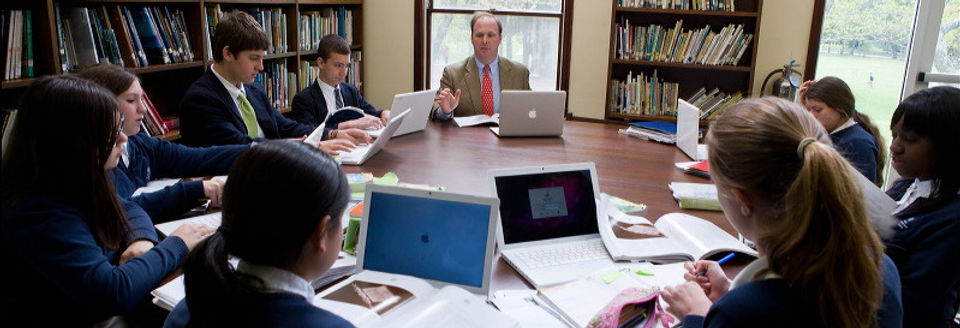 High school students studying rhetoric