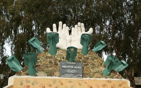 A monument in Halabja depicts the chemical attack against the city on March 16, 1988. Photo: Rudaw
