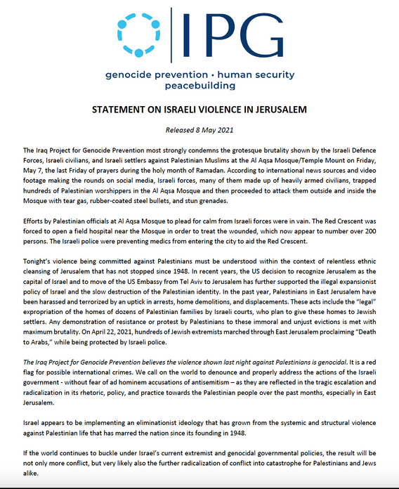 IPG Issues Statement on Israeli Violence in Jerusalem