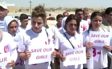 Yezidi women ask for help freeing the thousands still held in ISIS captivity on the anniversary of the Yezidi genocide last year. Photo: Rudaw video