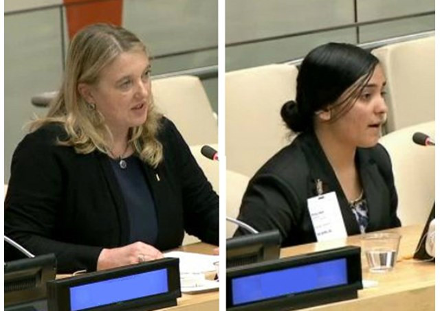 Dr. Elisa von Joeden-Forgey (L) and Samia Sleman (R) testifying to the ISIS genocide in Iraq. - RV