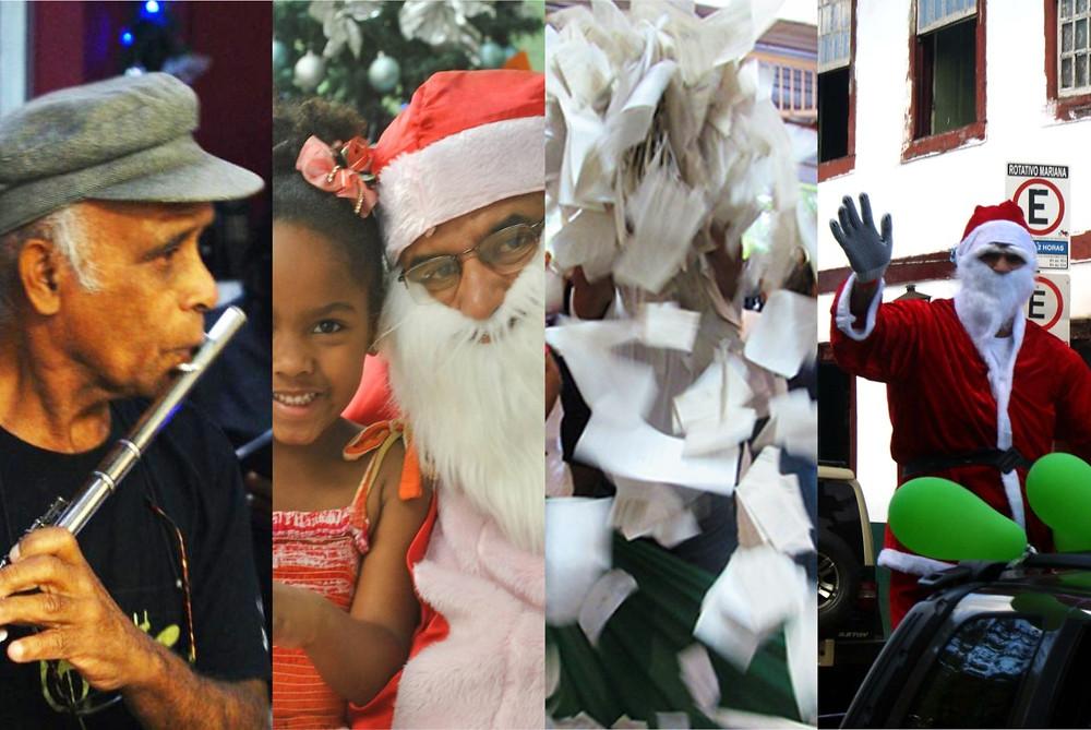 Montagem com os destaques da Semana Natalina. Na ordem - Cantata Natalina, Chegada do Papai Noel, Sorteio e Desfile do Papai Noel na cidade.