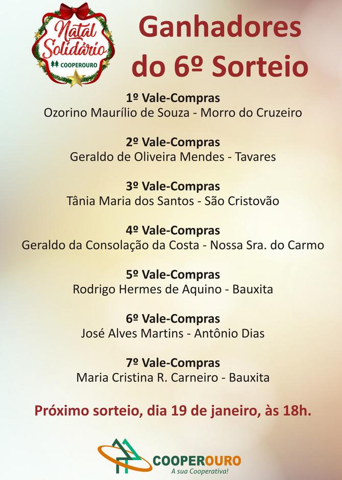 Ganhadores do 6º Sorteio - Natal Solidário Cooperouro
