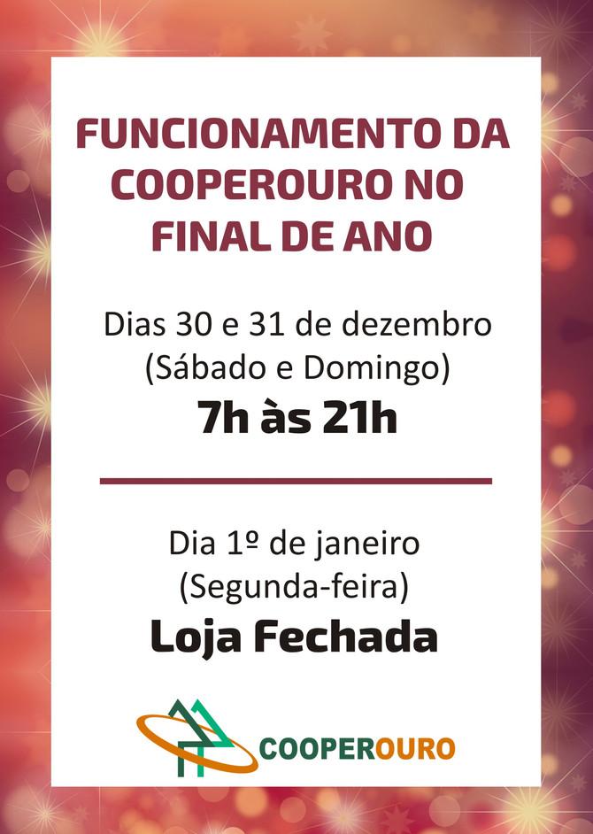 Horário de funcionamento da Cooperouro no Final de Ano