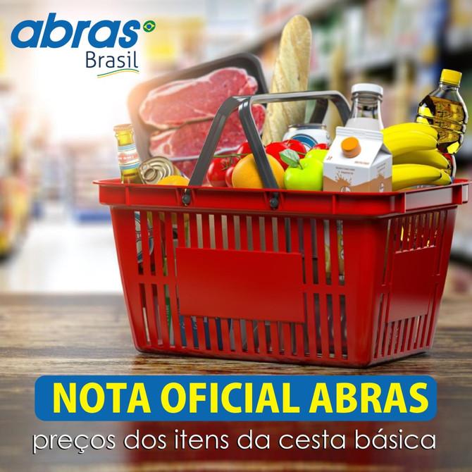 Nota oficial ABRAS - Preços dos itens da cesta básica