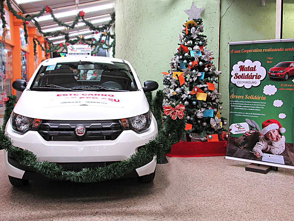 Fiat Mobi que será sorteado ao final da Campanha, dia 04 de fevereiro.