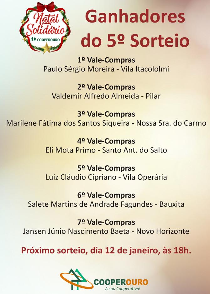 Ganhadores do 5º Sorteio - Natal Solidário Cooperouro